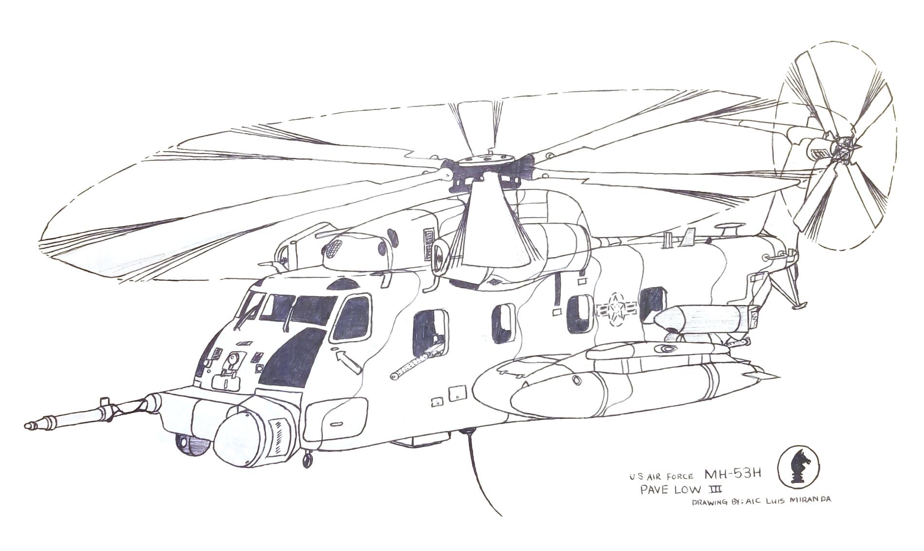 MH-53H Art Drawing